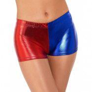 Metalliska Blå och Röda Harley Quinn Inspirerade Shorts