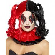 Svart och Röd Harley Quinn Inspirerad Peruk med Hästsvansar