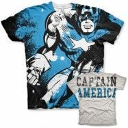 Captain America Allover T-Shirt, Modern Fit Polyester Tee
