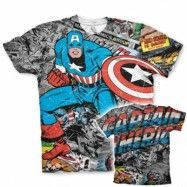 Captain America Comic Allover T-Shirt, Modern Fit Polyester Tee