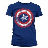 Captain America Distressed Shield Girly T-Shirt, Girly T-Shirt