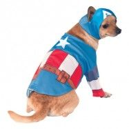 Captain America Hund Maskeraddräkt - Small