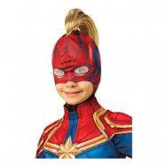 Captain Marvel Barn Mask med Hår - One size