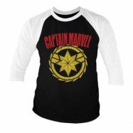 Captain Marvel Distressed Logo Baseball 3/4 Sleeve Tee, Baseball 3/4 Sleeve Tee