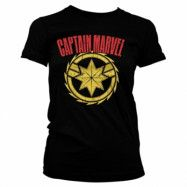 Captain Marvel Distressed Logo Girly Tee, Girly Tee