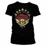 Captain Marvel Distressed Shield Girly Tee, Girly Tee