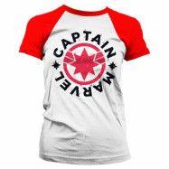 Captain Marvel Round Shield Baseball Girly Tee, Baseball Girly Tee