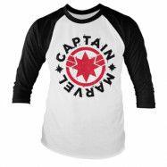 Captain Marvel Round Shield Baseball Long Sleeve Tee, Baseball Long Sleeve Tee