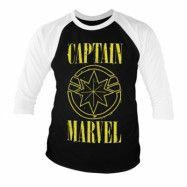 Captain Marvel Yellow Grunge Logo Baseball 3/4 Sleeve Tee, Baseball 3/4 Sleeve Tee
