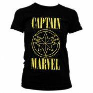 Captain Marvel Yellow Grunge Logo Girly Tee, Girly Tee