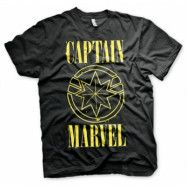 Captain Marvel Yellow Grunge Logo T-Shirt, Basic Tee