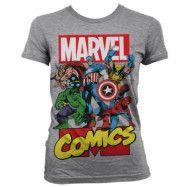Marvel Comics Heroes Girly T-Shirt Grå, MEDIUM
