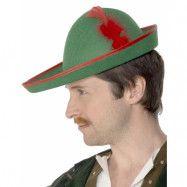Robin Hood - Grön och Röd Hatt med Fjäder