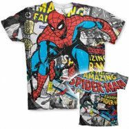 Spider-Man Comic Allover T-Shirt, Modern Fit Polyester Tee