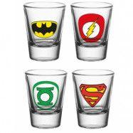 4 stk Justice League Shotglas