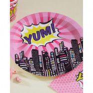 8 st Yum Papptallrikar 23 cm - Pop Art Supergirl