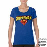 Superman Blockletter Logo Performance Girly Tee, CORE PERFORMANCE GIRLY TEE