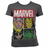 Marvel Distressed Characters Girly T-Shirt Mörkgrå