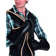 Svarta Långa Skinnimiterade Handskar